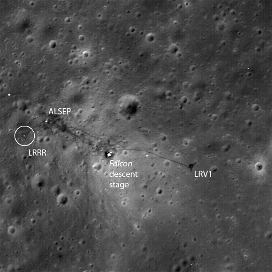 Lunar orbiter captures pictures of apollo landing sites on the surface