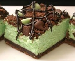 Popular St. Patrick's Day Dessert Recipe - Chocolate & Mint Cheesecake Bars