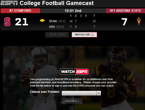 stanford football score live espn tv schedule college football