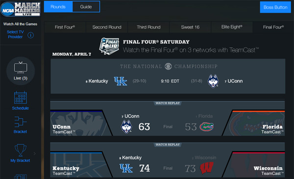Watch NCAA Championship Online – Kentucky vs. UConn in Men's Basketball Final