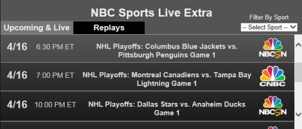 The live online stream of the 2014 NHL Playoffs is provided through
