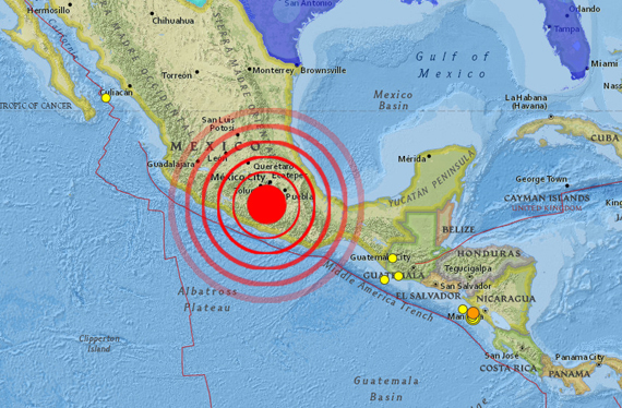 Earth Quake of 8.1 Richter in Mexico showing epicenter 450 miles away from capital