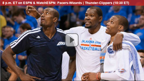 NBA Playoffs: Watch Online Free Live Video of Pacers-Wizards and Thunder-Clippers