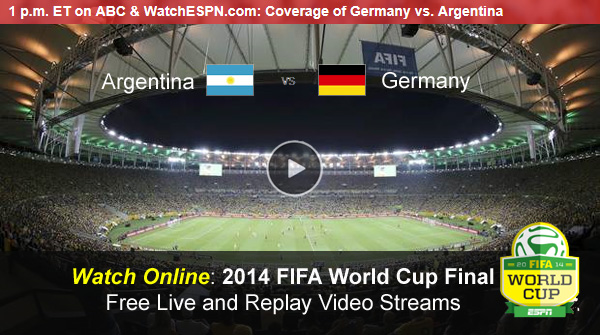 Watch FIFA World Cup Online Free Live Video Stream of Germany-Argentina Final