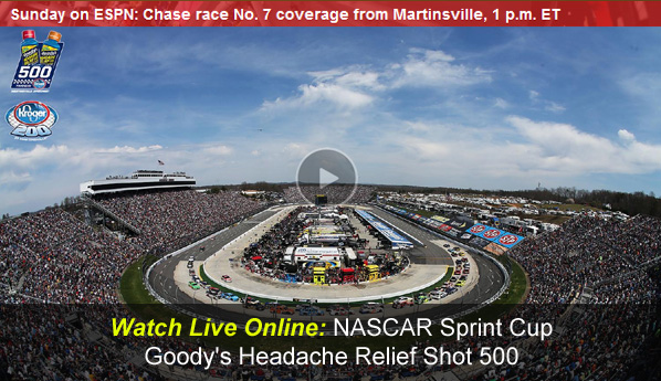 Watch NASCAR Goody's Headache Relief Shot 500 Online Free Live Video Stream of Sprint Cup Series from Martinsville