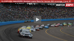 Watch NASCAR Race for Heroes 500 Online Live Sprint Cup Video Stream from ESPN
