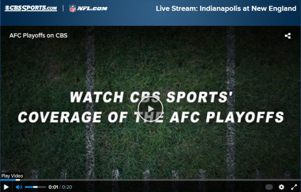 Watch AFC Championship Online using CBS Free Live Streaming Video of Patriots vs. Colts