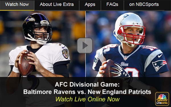 Ravens-Patriots: Watch Online AFC Playoff Game on NBC Free Live Video Stream
